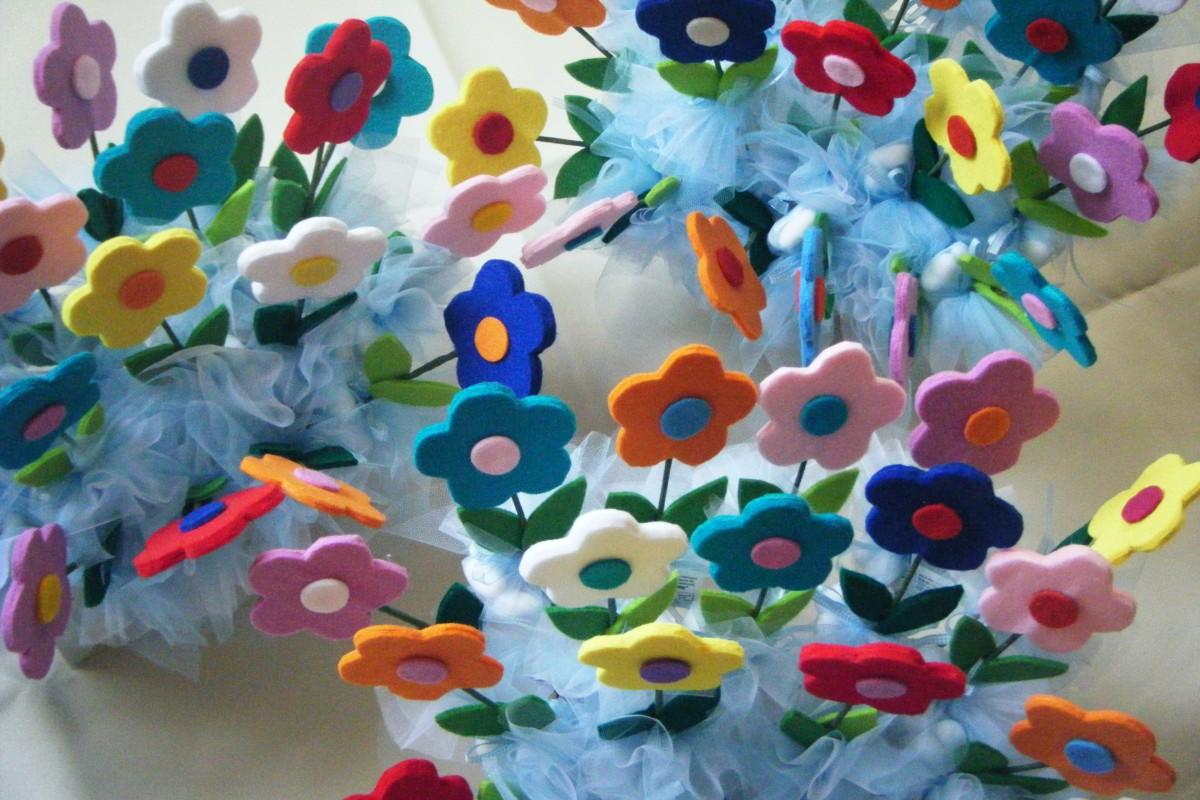 """Top Bomboniere con fiori in feltro   Laboratorio """"La Coccinella"""" NY53"""