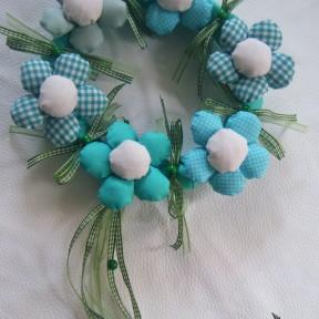 ghirlanda nascita fiori verde-azzurro