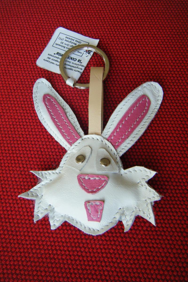 portachiavi coniglio bianco e rosa