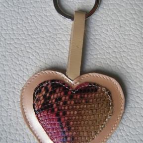 portachiavi cuore rosa maculato