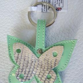 portachiavi farfalla verde acqua vernice e maculato grigio-avorio