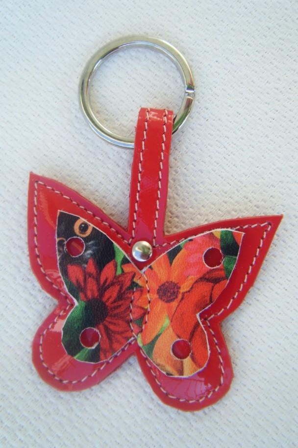 portachiavi farfalla vernice rossa e fantasia