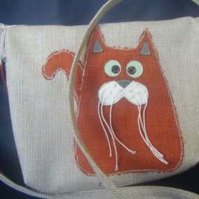 borsa in stoffa beige con gatto arancio applicato