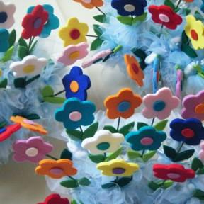 bombiniere nascita con fiori in feltro