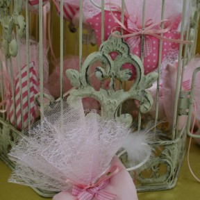 bomboniere uccellino rosa
