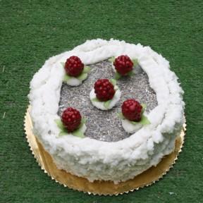 torta di lavanda media con lamponi